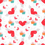 Present Boxes with Hearts Valentines Day Concept. Present boxes and hearts with wings seamless pattern Valentines day concept. Gifts with flying hearts symbols Stock Illustration