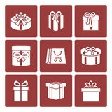 Present boxes icons set for online delivery Stock Photography