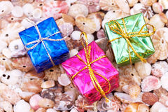 Present Boxes On Seashell Background Royalty Free Stock Photo