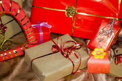 Present boxes photozone. Present boxes on a gold background texture stock photography