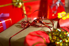 Present boxes photozone. Present boxes on a gold background texture royalty free stock photography