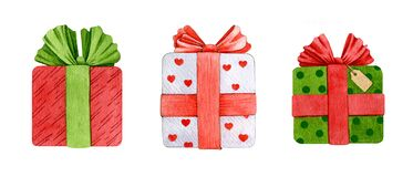 Present boxes with ribbon and bow watercolor illustration set. Hand drawn gift boxes with bright decore. Set of holiday packaging