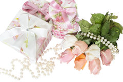 Present boxes and roses Royalty Free Stock Images