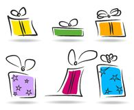 Present boxes set. Vector set of stylized gift boxes Stock Images