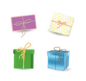 Present boxes set with ribbon bows. And mail in wrapping paper Royalty Free Stock Photography