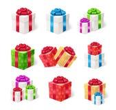 Present Boxes Set. Vector Stock Photo