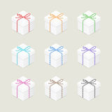 Present boxes with twine bows Stock Photo
