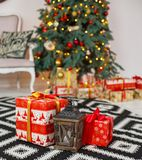 Present boxes under fir-tree Royalty Free Stock Photography