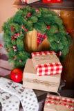 Present boxes under fir-tree Stock Photos