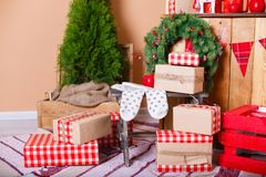Present boxes under fir-tree Royalty Free Stock Images