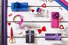 Present boxes and wrapping paper. stock image