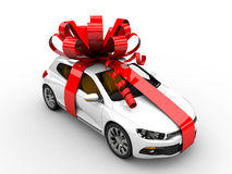 Present car. Modern white car with ribbon like a present Stock Images