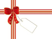Present with card. Illustration of a red cross ribbon and bow with greeting card. Eps file is available Stock Photography