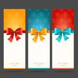 Present Card with Bow Set. Vector. Illustration Stock Photos