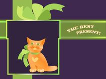 Present with cat. Festive  postcard with kitten in the present box Stock Image