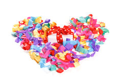 Present in the center of colorful heart Royalty Free Stock Image
