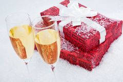 Present and champagne Royalty Free Stock Photos
