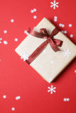 Present with christmas decor on red background - Series 2 Royalty Free Stock Photography