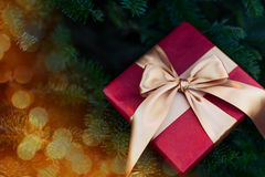 Present in christmas lights Royalty Free Stock Images