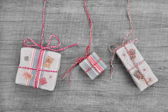 Present for christmas in shabby chic or country style Stock Image