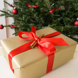Present and christmas tree Royalty Free Stock Photography