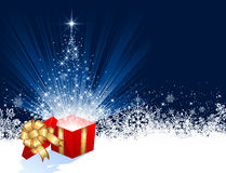 Present with Christmas tree from stars Royalty Free Stock Photo