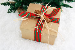 Present with Cinnamon Decoration Royalty Free Stock Images