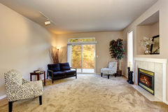 Present day living room with carpet and fireplace. Stock Photos