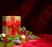 Present decorated with Christmas decoration Stock Images