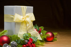 Present decorated with Christmas decoration Royalty Free Stock Image