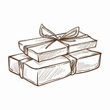 Present decorated with ribbon and row isolated icon vector monochrome sketch outline gift with surprise inside. Holidays tradition of giftboxes exchanging merry vector illustration