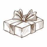 Present decorated with ribbon and row isolated icon vector monochrome sketch outline gift with surprise inside. Holidays tradition of giftboxes exchanging merry royalty free illustration