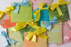 Present envelopes for party. Many present colorful handmade envelopes for party Royalty Free Stock Image