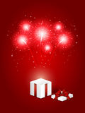 Present with firework Stock Photography