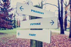 Present, Future and Past Concept. Conceptual Design of Present, Future and Past on Direction Sign Board on a Grassy Landscape with Trees at the Background Stock Photos