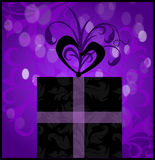 Present Gift. Illustration of a present and or gift with purple background and bow royalty free illustration