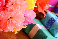 Present Gift Box And Flower Bouquet On Silk Royalty Free Stock Photo