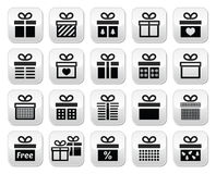Present, gift box  buttons set Stock Images