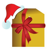 Present gift box with christmas hat. Illustration Stock Photo