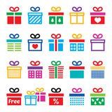 Present, gift box colorful  icons set. Icons set of presents isolated on white Stock Photography