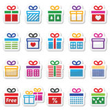 Present, gift box colorful vector icons set. Icons set of presents isolated on white Royalty Free Stock Photo