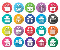 Present, gift box  flat design icons set Stock Photography