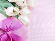 Present gift box and flowers artificial bouquet pink tone color Stock Photo