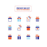 Present gift box icon Christmas New Year set Stock Images