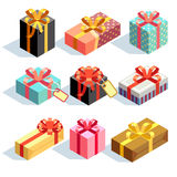 Present and gift boxes. Gift icons and Present boxes. Present and gift color boxes with ribbon bows. 3D isometric vector icons Royalty Free Stock Photo