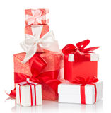 Present gift boxes with ribbons Stock Photography
