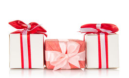 Present gift boxes with ribbons Stock Photos
