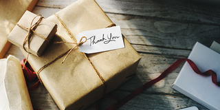 Present Gift Craft Twine Tag Concept stock photos