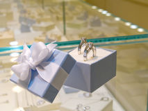Present gift in jewelry shop Stock Images