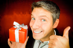 Present gift man Stock Images